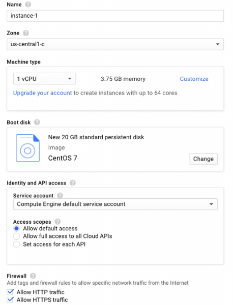 Create Google Cloud Instance